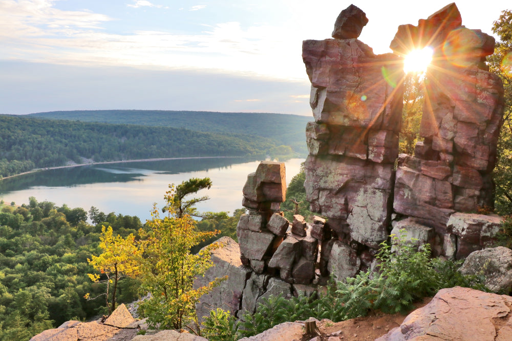 View of Sunset Over Devil's Doorway Devils Lake State Park