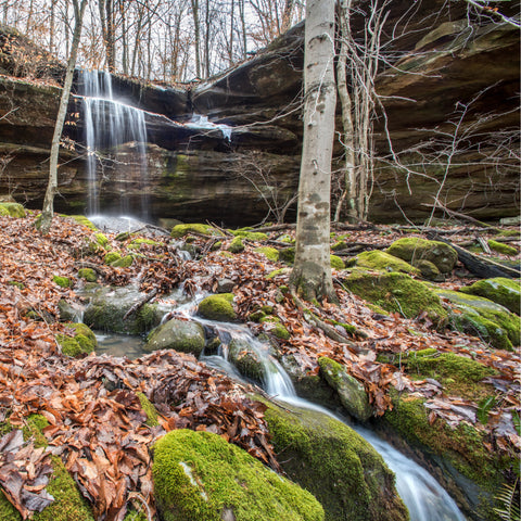 View of waterfalls flowing in Mammoth Cave National Park