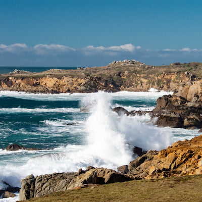 View of Waves Breaking Along Shore at Salt Point State Park California