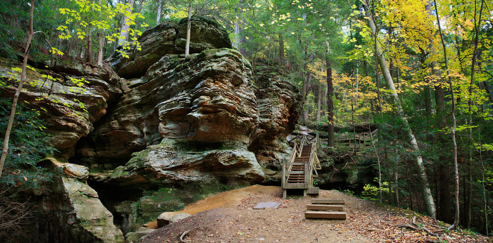 View of Wooden Stairs To Ash Cave on a Sunny Spring Day in Hocking Hills State Park Ohio