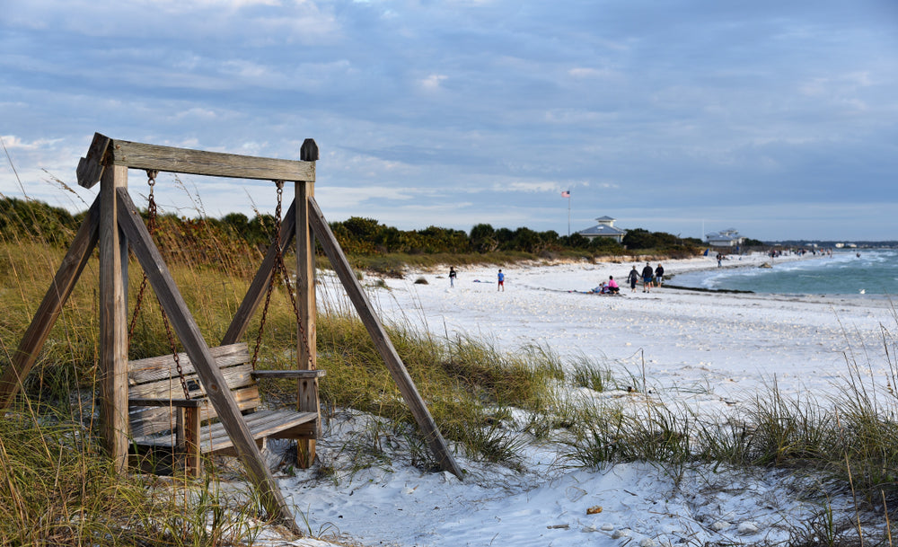 Wooden Swing on Beach in Honey Moon Island State Park Florida