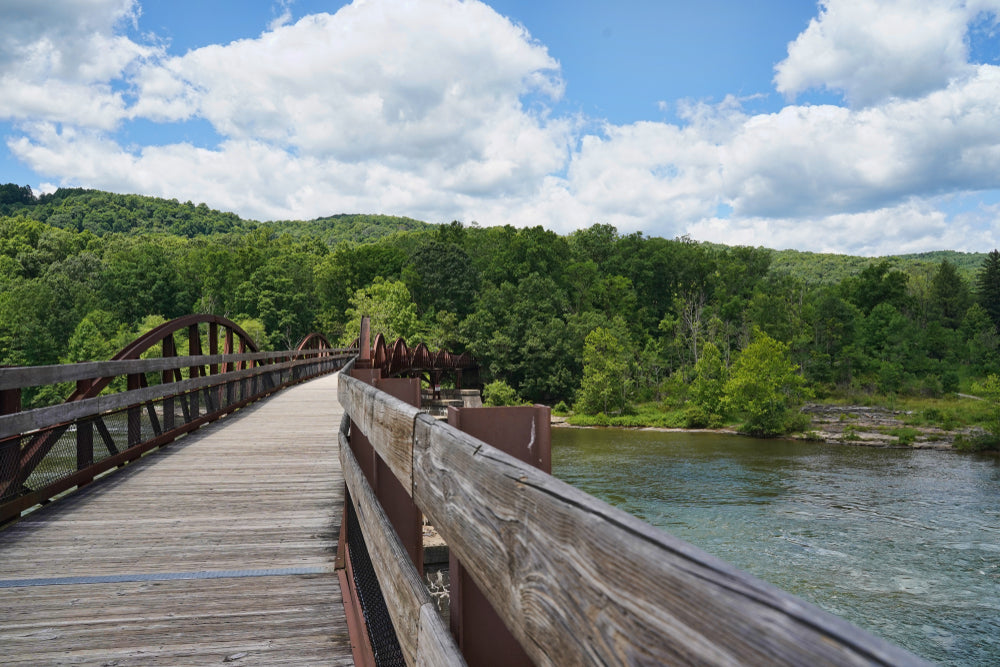 Wooden Bridge Over River at Ohiopyle State Park Pennsylvania