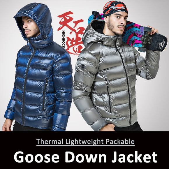 Hiking Winter Outdoor Sports Jacket Goose Down Jacket Mens Ultra Light 90% Goose Down Hooded Jackets Long Sleeve Warm Outwear
