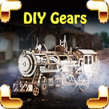 New Idea Gift Mechanical Gears Series 3D Puzzles Wood Puzzle Train Air Vehicle Gear Drive Tech Machine DIY Educational Game Toys