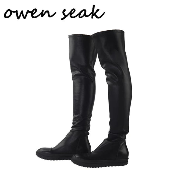 Owen Seak Men Shoes Over Knee High Boots Luxury Trainers Sheepskin Leather Winter Boots Casual Snow Flats Black Big Size Boots
