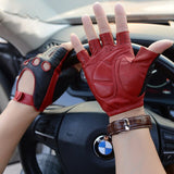 Leather Gloves New Style Spring Summer Male Half Finger Locomotive Gloves Fashion Breathable Unlined Man's Driving Mittens M52
