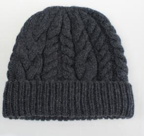 100% hand made pure goat cashmere twisted knit thick beanies hats winter caps for men women one&over size 3colors available