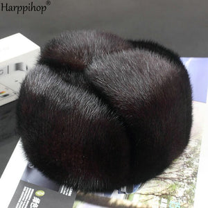 Harppihop*men mink fur hat Men's Mink Fur Trapper Cap Genuine Sheepskin Leather Hunting Hat Ushanka