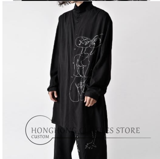 S-6XL! Large men's shirts  The new printed embroidered men's shirt is ultra-loose, medium and long dark clothes