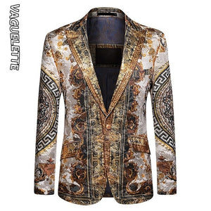 Luxury Printed Blazer Men Slim Fit Party Jacket Coat Size M-4XL