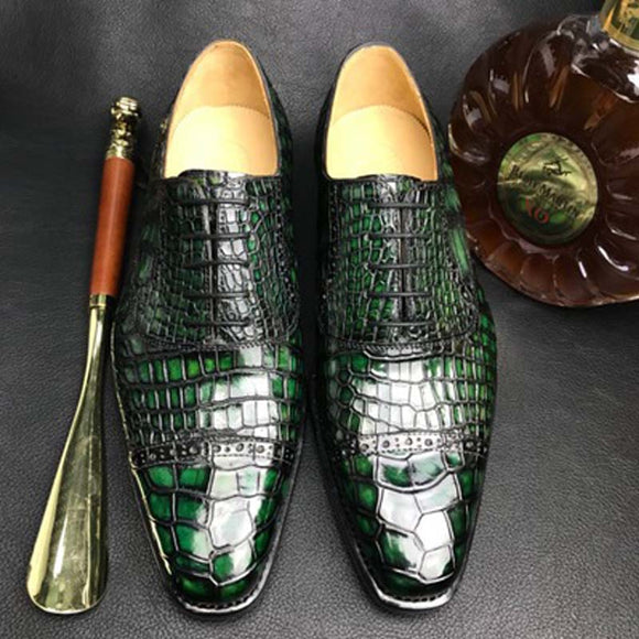 chue Imported crocodile leather skin  men  fashion  business    Brush color   bottom of the skin  Men shoes