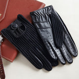 New Men Goatskin Gloves Knitted + Leather Gloves Male Breathable Unlined Locomotive Driving Gloves Fashion Mens Leather Gloves