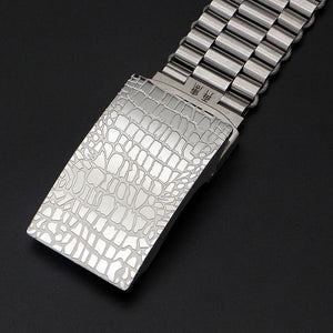 Automatic Buckle Metal Belt Men's Luxury Stainless steel wire rope Braided belt Lengthened self-defense waistband 140/130CM  p77