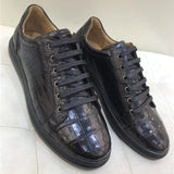Authentic Real Crocodile Belly Skin Male Casual Vulcanized Sneakers Genuine Alligator Leather Men Lace-up Footwear Flats Shoes
