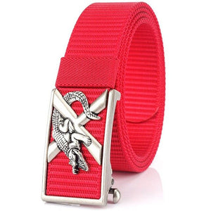Men's Nylon Webbing Ratchet Belt with Automatic Slide Buckle