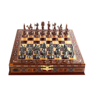 Egypt Pharaoh Antique Copper Figures Metal Chess Set,Handmade Pieces,Natural Solid Wooden Chess Board,Storage Inside King 9 cm