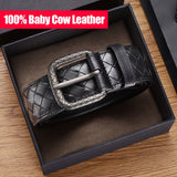 100% Leather Woven Belt Men's Leather Business Casual All-match Luxury Brand Leather Belt Gift Box New