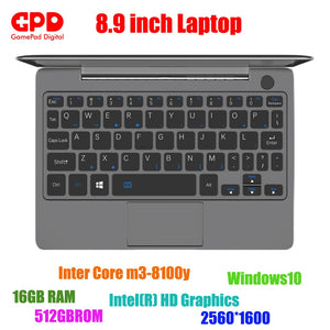 New arrival GPD P2 Max 8.9 Inch laptop Touch Screen Inter Core m3-8100y 16GB 512GB Mini PC Pocket Laptop notebook Windows10