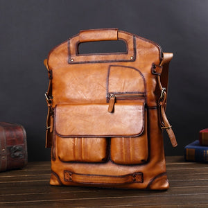 Leather Men's Bag Leather Handbag Casual Men Laptop Bag Europe and America Messenger Bag Retro Shoulder Bag Business Briefcase