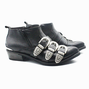 Leather Shoes Boots MJ Classic BAD Version Cosplay Michael Jackson West Cowboy Shoes