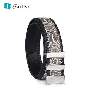 Fashion Designer Genuine Snake Leather Gold Sliver Metal Slide Buckle Men Belt Exotic Python Skin Gift Belt For Male Man Strap