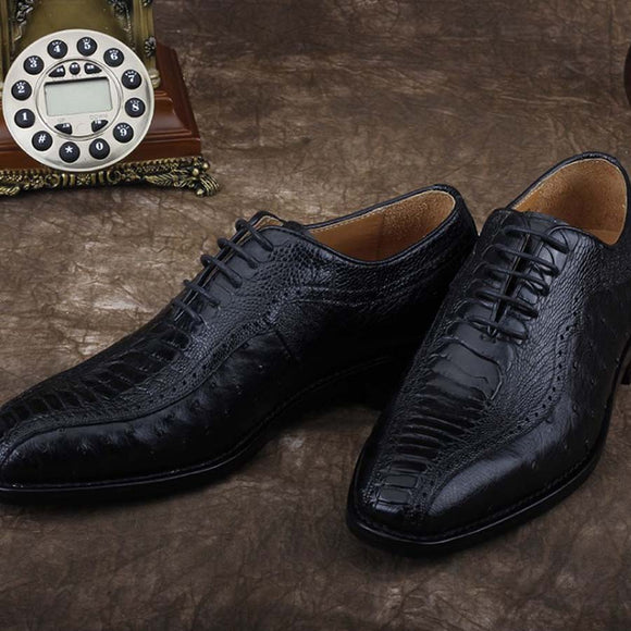 ourui Real ostrich leather shoes for men business suit leather shoes for men ostrich leather shoes for men black leather shoes