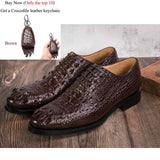 Crocodile Shoes Men Dress Genuine Leather Original Design Party Wedding Luxury Formal Derby Men's Oxford Casual Alligator Shoes