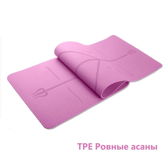 TPE 6mm yoga mat with разметкой 183cm * 61cm * 0.6cm