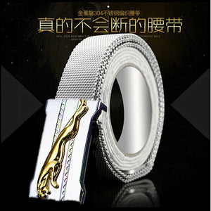 Men's Metal stainless steel Braided belt 140cm Lengthened  self-defense  punk style Survival outdoor