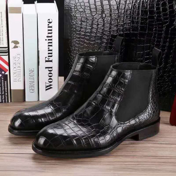 Top quality 100% real genuine crocodile skin men fashion shoe with genuine cowhide skin lining leisure men shoe zippers winter