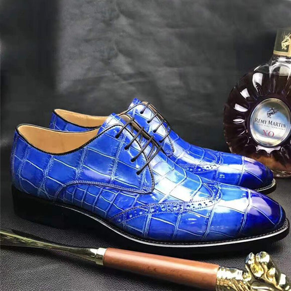 chue new male  leisure  business  bullock  carving  Genuine crocodile leather end of  Brush color  Men shoes