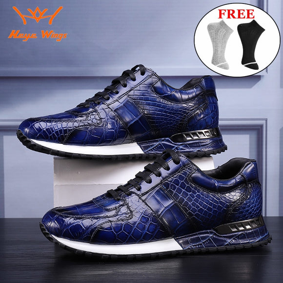 Luxury sport leather shoes handmade high-end crocodile skin Sneakers for men blue wine green colours