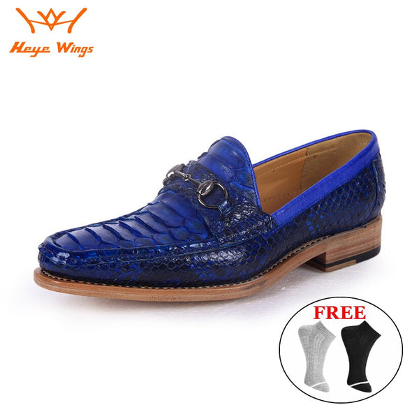 Handmade Quality Python skin dress loafers men luxury business dress shoes blue color