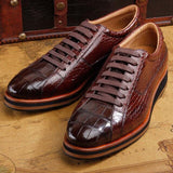 ourui new arrival true crocodile leather  male lace-up Single shoes brown Genuine leather business Men's leather shoes men shoes