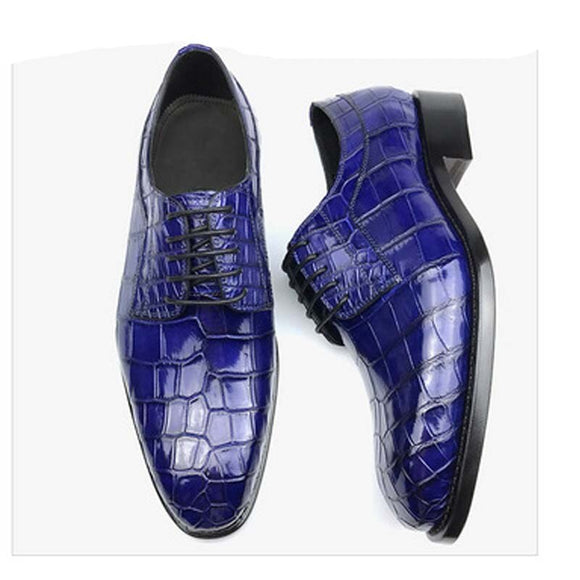chue pointed  Brush color  crocodile  Leather shoes  high-grade  crocodile  manual  sewing  Men shoes