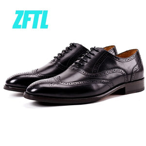 ZFTL Men's dress Business shoes Genuine cow leather Oxford shoes man Brogue shoes Carved retro Bullock Black Brown male formal