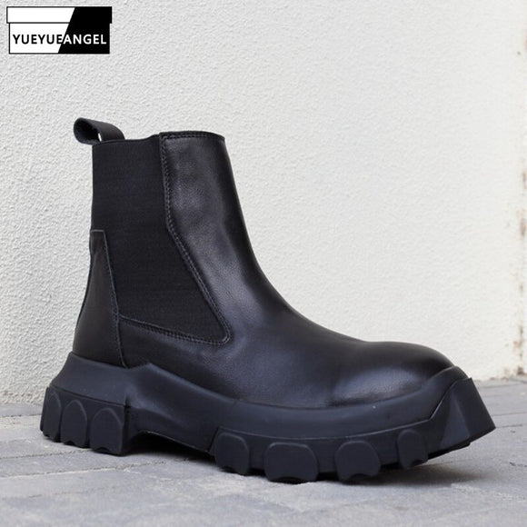 High Quality Chelsea Boots Men 6CM Clear Platform Ankle Boots Vintage Black 100% Genuine Leather Motorcycle Biker High-Top Shoes