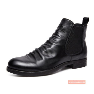 High Top Boots Genuine Authentic Leather Shoes High Class Cow Skin Cool Man Boot High Top Rich Business Man Royal Boots Chelsea