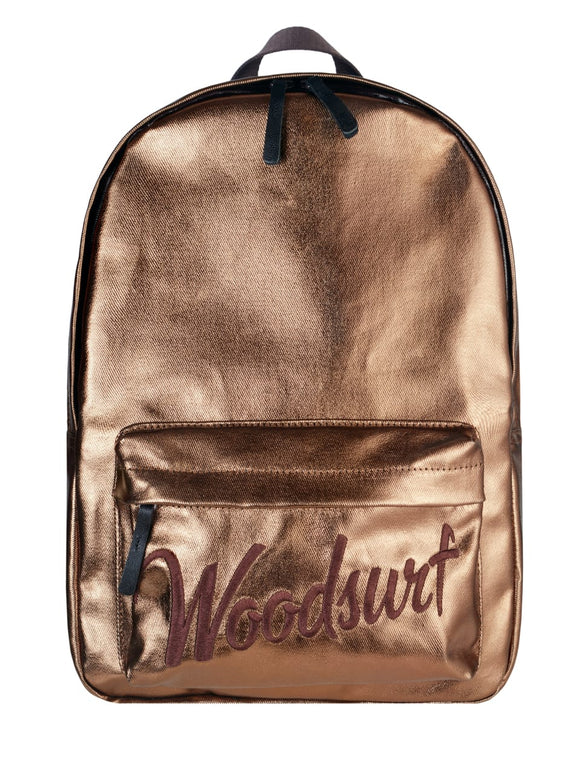 Youth backpack, gold, canvas, laptop compartment, waterproof, school backpack, for travel Woodsurf
