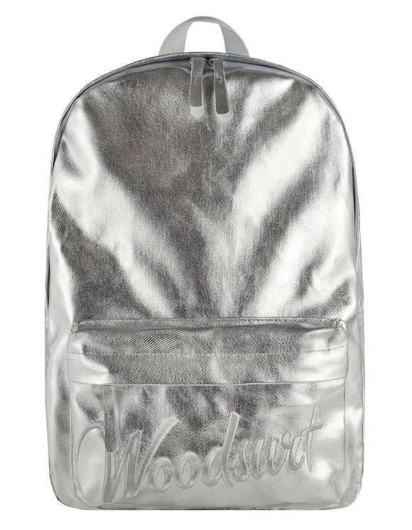Unisex silver metallic backpack with laptop compartment Woodsurf, urban collection, cotton, Woodsurf