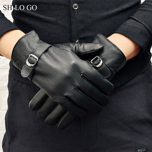 SHILO GO Leather Gloves Mens Spring Fashion sheepskin genuine leather Gloves metal Business black thick warm