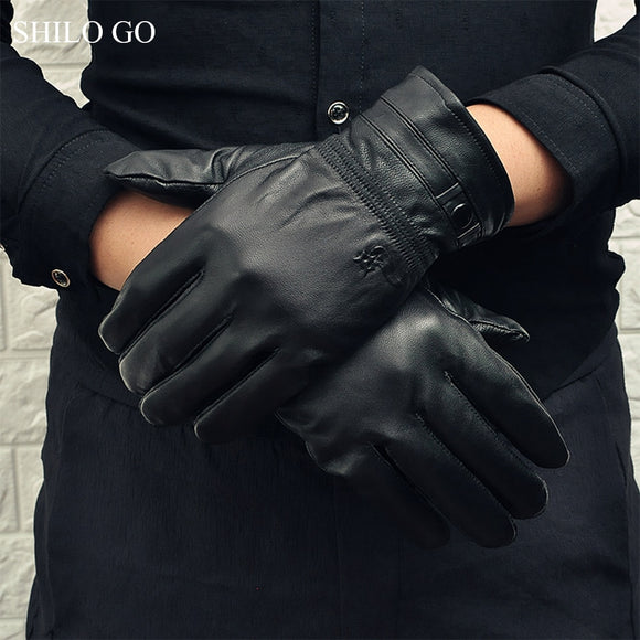 SHILO GO Leather Gloves Mens Spring Fashion sheepskin genuine leather Gloves button Business Comfortable stretch gloves