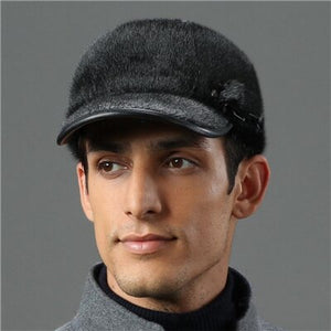 IANLAN Top Quality Mens Import Full-pelt Seal Fur Visors Real Sealskin Peaked Caps All Match Winter Outdoor Casual Hats IL00241