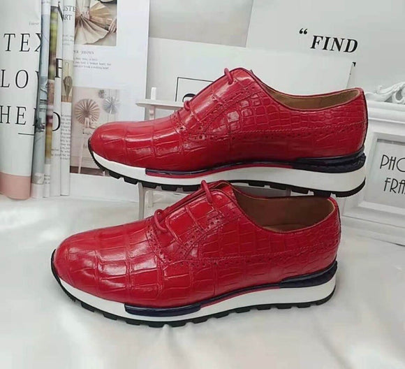 100% Genuine real crocodile belly skin men shoe durable solid glossy red color crocodile skin men fashion leisre sport shoes
