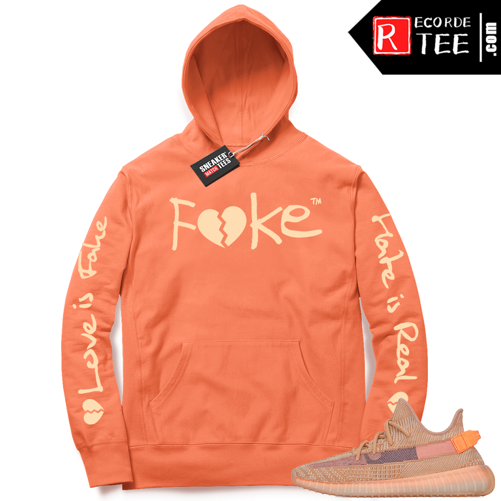 Yeezy 350 Clay | Fake Love | Bright Orange Hoodie
