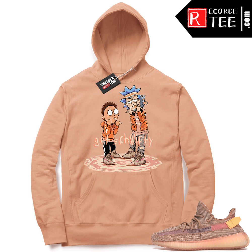 【Hot Sale】Yeezy 350 Clay | Get Schwifty | Light Clay Hoodie