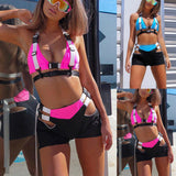 NEON BUCKLE TOP x CROPPED SHORT SET