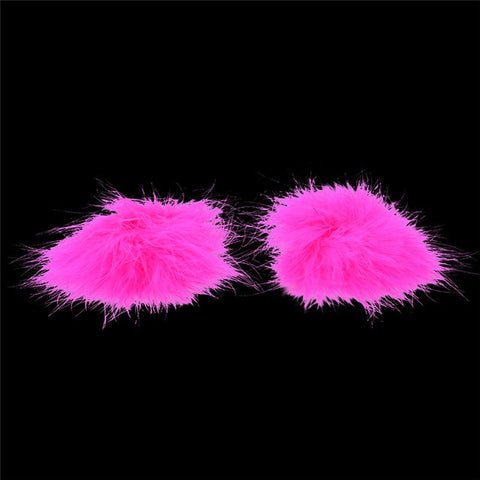 HOT PINK FLUFFY NIPPLE COVERS