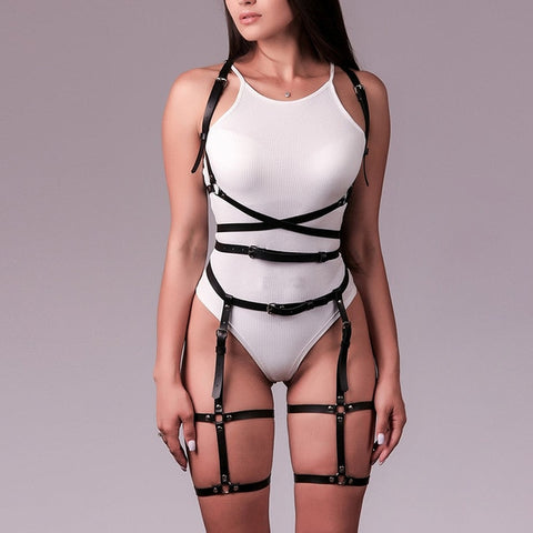CAGE LEATHER HARNESS X GARTER SET