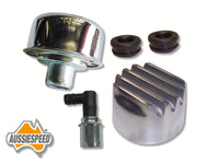 AS0196P-5 Finned Mopar Style Aluminium Breather Cap PCV Valve Kit Polished